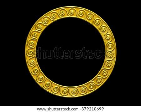 golden, ornamental, Meander circle frame in Gold - stock photo