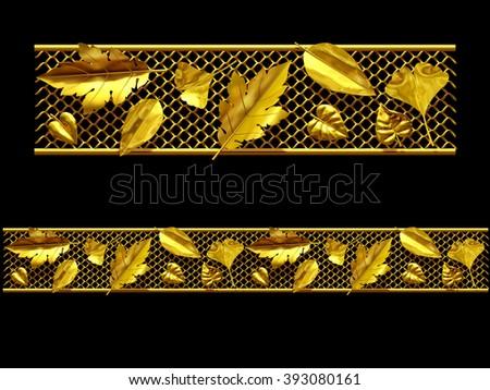 "golden ornamental segment, ""autumn"", straight version for frieze or border - stock photo"