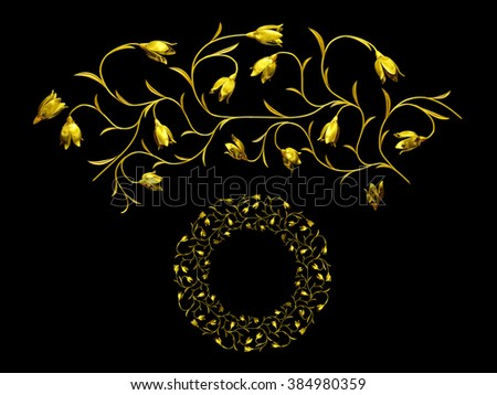 """golden ornamental segment, """"bell"""", round version for ninety degree corners or curve and circle - stock photo"""