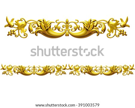 "golden ornamental segment, ""cornucopia"", straight version for frieze, frame or border. - stock photo"