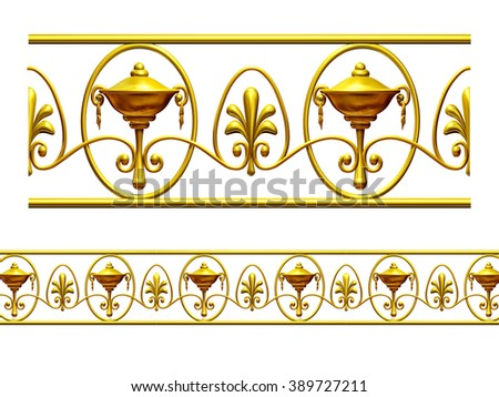 """golden ornamental segment, """"cup"""", round version for ninety degree corners or curve and circle - stock photo"""