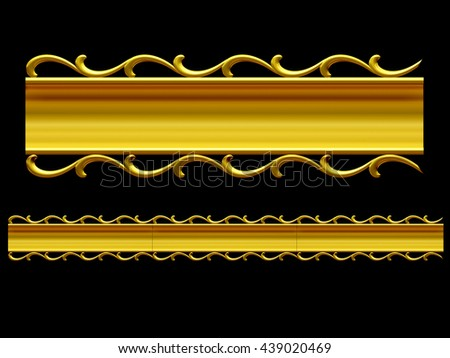 golden, ornamental Segment, empty Version for your own placement, 3d illustration - stock photo