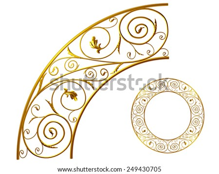 golden ornamental segment for a circle or a corner. This ninety degree angle complements my items for a frieze, border or frame. See Set: Decorative Ornaments, in my Portfolio: Ornament 61  - stock photo