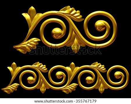 golden ornamental segment for frieze or border - stock photo