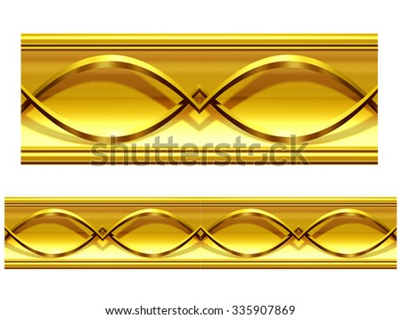 golden ornamental segment for frieze or border  (there also exist a round version) - stock photo