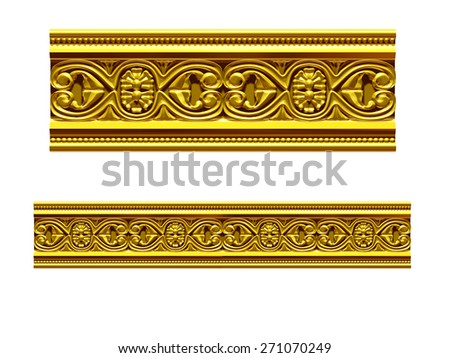 "golden ornamental segment, ""mirror"", straight version for frieze, frame or border - stock photo"