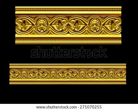 "golden ornamental segment, ""mirror"", straight version for frieze, frame or border - stock photo"
