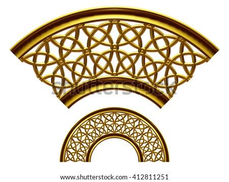 """golden ornamental segment, """"net"""", rectangle version for ninety degree corners and frames 3D illustration - stock photo"""