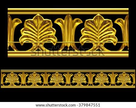 "golden ornamental segment, ""plant"", straight version for frieze, frame or border. - stock photo"