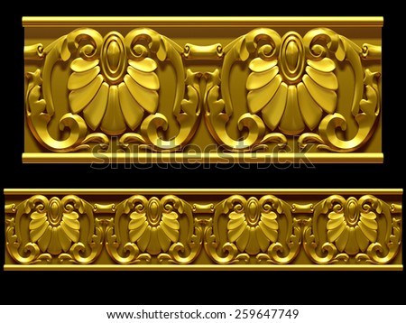 "golden ornamental segment, ""Sima"", straight version for frieze, frame or border - stock photo"
