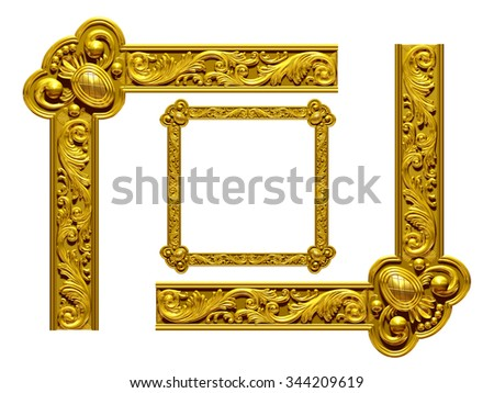 "golden, ornamental Segment, ""Wave"", for Frame or right angle corner of same named straight and round version,  - stock photo"