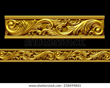 "golden ornamental segment, ""wave"", straight version for frieze, frame or border - stock photo"