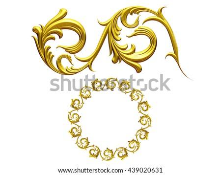 "golden ornamental segment, ""whirl"", round version for ninety degree corners or frames. 3D illustration - stock photo"