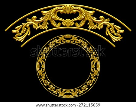 "golden ornamental segment, ""wings"", round version for corner or circle - stock photo"