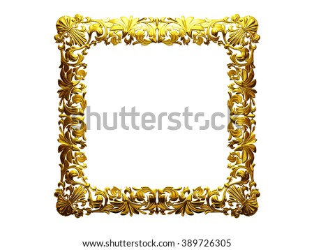 golden ornamental square frame - stock photo