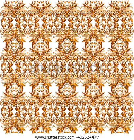 Golden ornate design background on isolated white background.