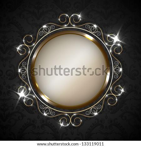 Golden ornate frame on decorated wallpaper  - raster version - stock photo