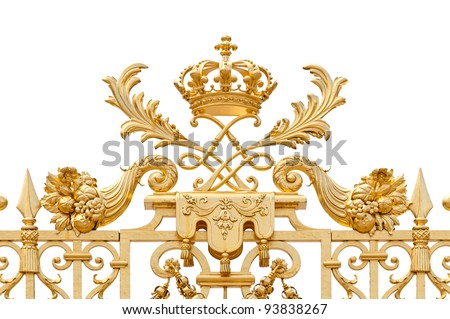 Golden ornate gate of Chateau de Versailles isolated on white background. Paris, France, Europe. - stock photo