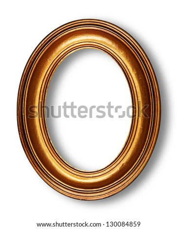 Golden oval frame on white with shadow - stock photo