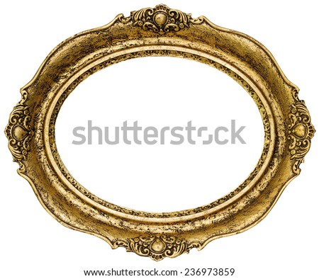 Golden Oval Picture Frame Cutout - stock photo