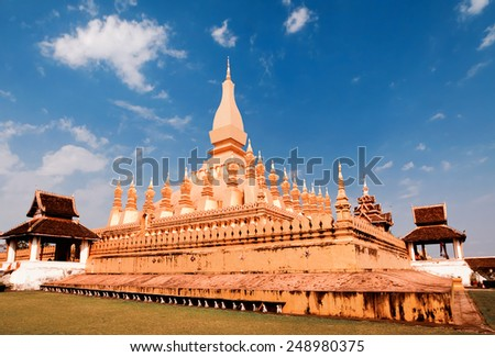 Golden pagada in temple Pha That Luang, Vientiane, Laos - stock photo