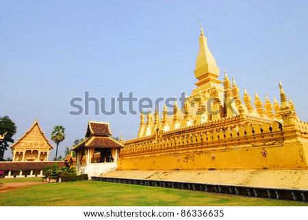 Golden pagada in Wat Pha-That Luang, Vientiane, Laos - stock photo
