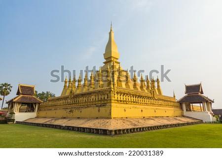 Golden pagada Wat Pha-That Luang in Vientiane, Laos - stock photo