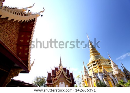 Golden pagoda at Wat Phra bath tak pha in lumpuan province, Thailand