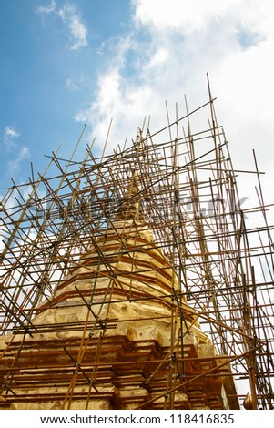 Golden pagoda under renovation, Chaingmai, Thailand