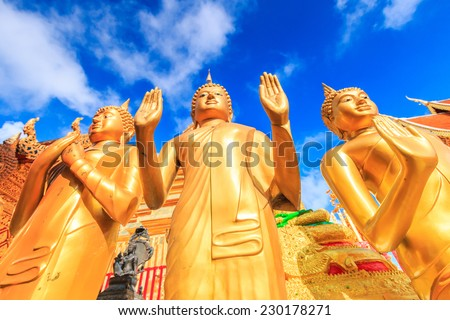 Golden pagoda wat Phra That Doi Suthep chiangmai Thailand, They are public domain or treasure of Buddhism, no restrict in copy or use  - stock photo
