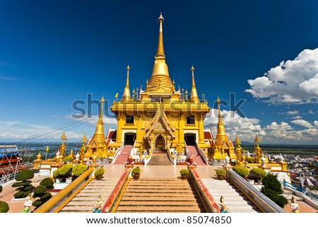 Golden Pagoda, Wat Thai of northern Thailand. - stock photo