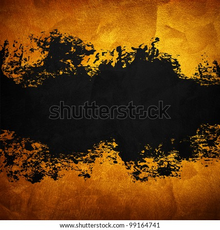 golden paint with splash space - stock photo
