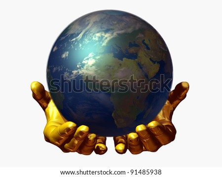 golden pair of hands carry the world, ecological protection for Mother Earth - stock photo