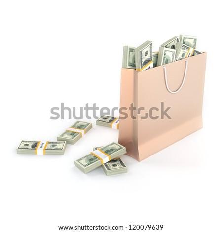 Golden paper bag full of money (isolated on white background) - stock photo