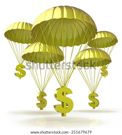 Golden parachutes. Dollar signs parachuting down from the sky  - stock photo