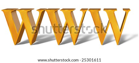 Golden pattern 3d Internet Technology Concept www - stock photo