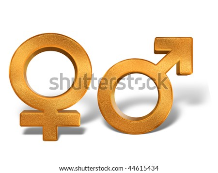 Golden pattern gender sex 3D symbols isolated over white background