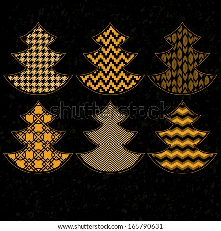 Golden patterned Christmas trees on black collection. Raster version, editable file also available at my portfolio. - stock photo