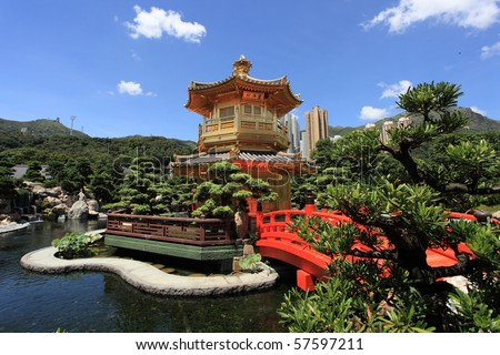 golden pavilion of Chi Lin Nunnery and Chinese garden, landmark in Hong Kong - stock photo