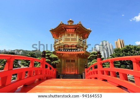 golden pavilion of Chi Lin Nunnery, landmark in Hong Kong
