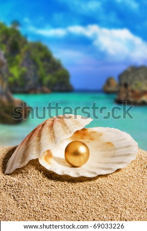 Golden Pearl - stock photo