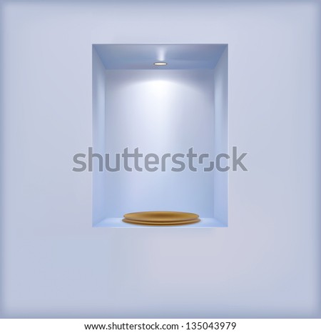 golden pedestal on the shelf.Rasterized illustration. Vector version in my portfolio