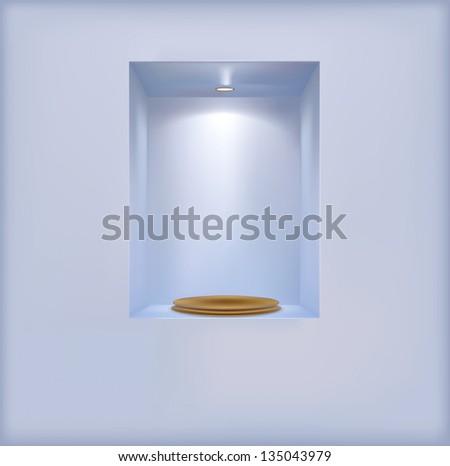 golden pedestal on the shelf.Rasterized illustration. Vector version in my portfolio - stock photo