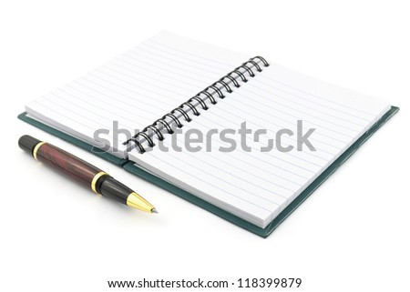 golden pen and opened notebook isolated on white - stock photo