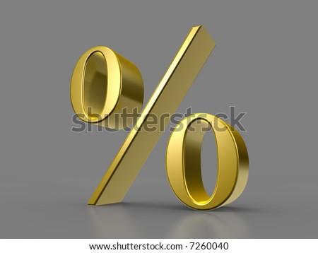 Golden Percent - stock photo