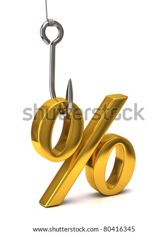 Golden percent sign on the hook