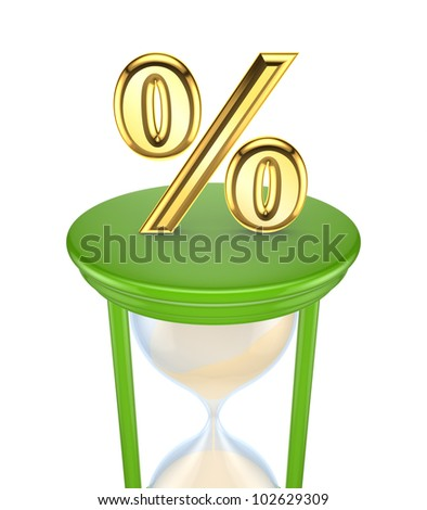 Golden Percent symbol on a green sand glass.Isolated on white background.3d rendered. - stock photo