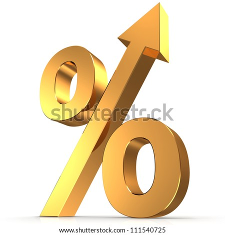 Golden percentage symbol with an arrow up - stock photo