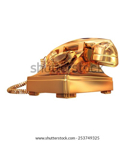 Golden phone on white isolated background.  High resolution