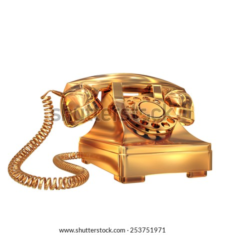 Golden phone on white isolated background.  High resolution - stock photo